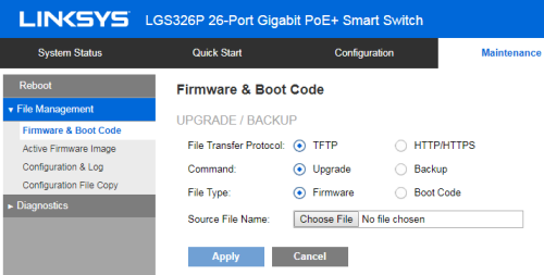 Upgrading the Linksys Smart Gigabit Switch's firmware