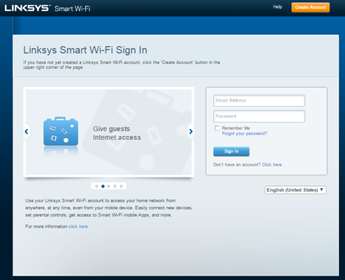 Linksys official support creating a linksys cloud account.
