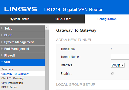 Linksys Official Support - Configuring a Gateway-To-Gateway